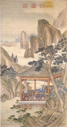 Giuseppe Castiglione(Jesuit)(郎世寧) ,  弘历观荷抚琴图 北京故宫博物院藏