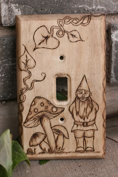 Mushrooms and Woodland Gnome woodburned light by TheGypsysSatchel, $35.00