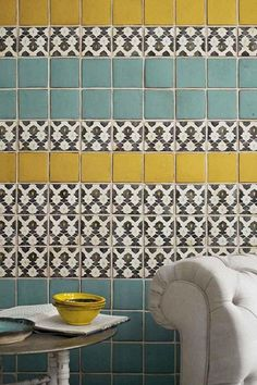 Style Forecast: Tile Trends for 2014 and Beyond/ Lovely Tabarka Deco Design, Tile Design, Design Trends, Design Color, Design Ideas, Design Design, Home Interior, Interior Design, Yellow Tile