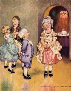 """""""Washington's Birthday Party"""" (Date unknown), by American artist and illustrator - Frances Tipton Hunter (1896-1957), Watercolor, Dimensions unknown, Owner/Location unknown."""