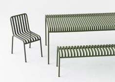 Chair, bench and table from Palissade outdoor furniture collection designed by Bouroullec brothers for HAY