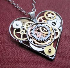 "Mechanical Heart Necklace ""Circumscribe"" Elegant Industrial Heart Pendant Mechanical Steampunk Love Sculpture Gershenson-Gates Gear Heart"