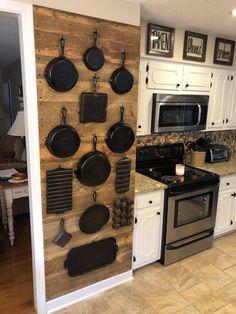 Cast Iron on Wall - House-Dream Kitchen - Auto Kitchen Redo, Home Decor Kitchen, Rustic Kitchen, Country Kitchen, Kitchen Interior, Kitchen Remodel, Diy Home Decor, Iron Storage, Wall Storage