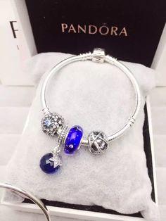 50% OFF!!! $139 Pandora Charm Bracelet Blue. Hot Sale!!! SKU: CB01573 - PANDORA Bracelet Ideas