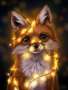 Animal Drawings Fairy Lights, an art print by Johanna Tarkela - INPRNT - This is a gallery-quality giclée art print on cotton rag archival paper, printed with archival inks. Pet Anime, Anime Animals, Animals And Pets, Wild Animals, Cute Little Animals, Cute Funny Animals, Super Cute Animals, Funny Dogs, Animal Pictures