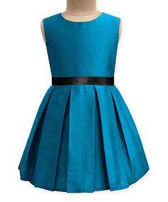 Turquoise Emma A-Line Dress - Infant Toddler & Girls