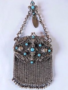 ANTIQUE CHATELAINE PURSE / BAG LADIES HANGING BELT PURSE CHAIN MAIL with MIRROR