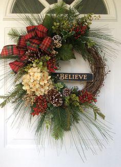 Christmas Wreath Holiday Wreath Winter Wreath by ReginasGarden
