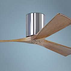 "52"" Matthews Irene 3-Blade Walnut-Chrome Hugger Ceiling Fan"