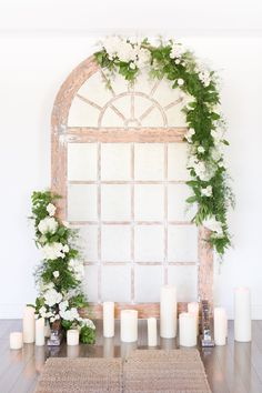 ceremony window pane background - photo by Amy and Jordan Photography Wedding Ceremony Ideas, Wedding Backdrops, Wedding Arches, Reception, White Background Photography, Photography Flowers, Wedding Photography, Wedding Window, Phoenix Wedding Photographer