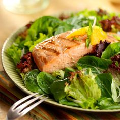 DOLE Salads - Grilled Salmon with Citrus Salsa and Baby Greens- Fruit inspired!