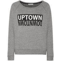 Rebecca Minkoff Up/downtown printed cady sweatshirt ($48) ❤ liked on Polyvore featuring tops, hoodies, sweatshirts, shirts, sweaters, sweatshirt, grey, gray top, grey shirt and gray shirt