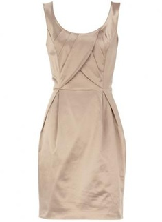 Champagne Color Sateen Dress with Pleated Detail, Dress, sateen dress pleated, Chic