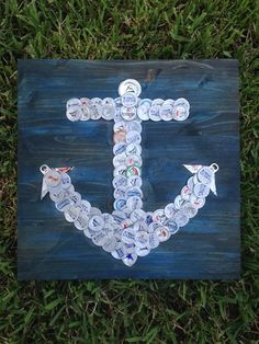 """Beer/Bottle Cap Anchor, 16"""" x 16"""", Signed Original, Ready to Hang! """"Anchors Aweigh"""""""