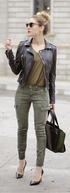 Leather jacket, leopard or black sleeveless blouse with camo boyfriend pants, and leopard pumps