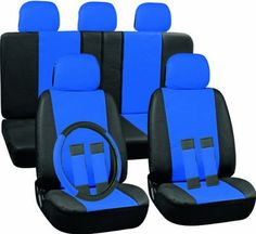 SAVE $36 - #Oxgord 17pc Leatherette Seat Cover Set, Airbag Compatible, for DODGE DART, Blue & Black $23.95