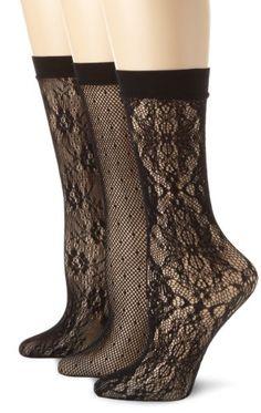 Calvin Klein Women`s 3 Pack Lace Crochet Trouser Socks $15.95 #topseller