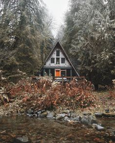 A-frame cabin in the woods.