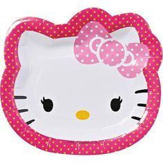"Hello Kitty 7"" Die Cut Plates, 8 Count, Party Supplies - Walmart.com"