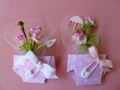 Baby Shower Corsage...Grandma to Be...Great Grandma to Be... Mommy to Be Baby Shower Corsage...Diaper with Flowers...Girl. $6.95, via Etsy.