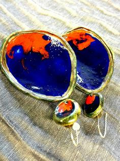 Ceramics Earrings Raku handmade in Italy VulcanicaGioielliMilano www.vulcanica-milano.it