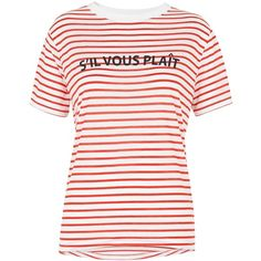 Whistles S'il Vous Plait Stripe T-Shirt, Red/White (3.265 RUB) via Polyvore featuring tops, t-shirts, striped sleeve t shirt, white tee, sport tee, sports t shirts и horizontal striped t shirt