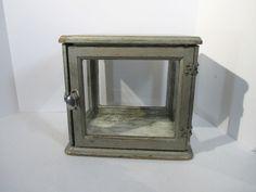 Vintage Medicine Cabinet Sterilizer Barber Shop Display Wood Glass Latch Silver