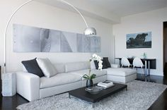 Modern Home Living Room Interior Designed with Light Grey L Shaped Sectional Sofa with Chaise and Coffee Table Dark Floor Living Room, Living Room Carpet, Living Room Grey, Rugs In Living Room, Living Room Decor, Living Pequeños, Living Room New York, Condo Living, Apartment Living
