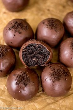 Chocolate overload! These truffles can be whipped up from start to finish in less than an hour and just trust me when you take a bite, you will not be able to stop at just one! One, two, three… and rest is history.
