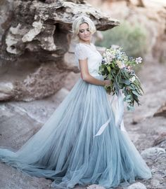Wedding Gown This ice blue tulle skirt separate makes us swoon! This modern alternative to a traditional wedding gown has us giddy with excitement. This look would work perfectly for a winter wedding inspiration. Blue Wedding Dresses, A Line Prom Dresses, Tulle Prom Dress, Wedding Shoes, Lace Wedding, Dress Lace, Wedding Blue, Light Blue Wedding Dress, Evening Dresses