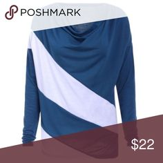 Cowl Neck Long Sleev Green/blue color! The material is polyester! Please ask for measurements! Tops Tees - Long Sleeve