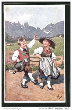 CPA Illustrateur Karl Feiertag: Mädchen Et Junge En Costume Typique Tanzend Vor Bergpanorama - Feiertag, Karl