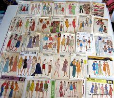 Vintage Sewing Pattern Lot of 30 Patterns Circa 1960s-1970s Mad Men Mod Boho & More-No Envelopes