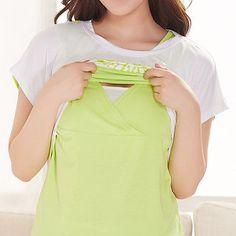 Maternity enfermería Prendas para el torso Prendas de vestir ropa de la Lactancia Materna Embarazo Top Verano Tees