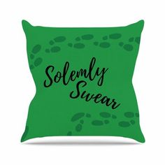 "East Urban Home Jackie Rose Solemly Swear Illustration Outdoor Throw Pillow Size: 18"" H x 18"" W x 5"" D"