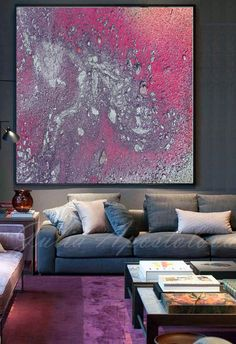 #Modern #Large #Wall #Art, '' #Galaxy '' by #JuliaApostolova on #Etsy #Pink, #Purple and #Silver, #WallArt #Canvas, #AbstractPainting, #Print, #Watercolor #Painting, #AbstractCanvas,
