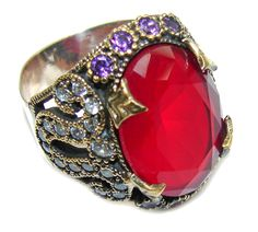 $50.25 Victorian+Style+Red+Ruby+&+White+Topaz+Sterling+Silver+Ring+s.+8 at www.SilverRushStyle.com #ring #handmade #jewelry #silver #ruby