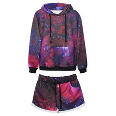 Women's All Over Print Galaxy Universe In Space Tracksuit Sport Suit Hoodies Sweatshirt + Pants 2pc Set Jogging Sportswear