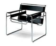 Marcel Breuer's Wassily Chair (1925) is one of the most famous products of the Bauhaus School. It is a club armchair with all the stuffing taken out, leaving a behind a skeletal framework and stretche