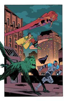 "extraordinarycomics: ""Teen Titans by Leonardo Romero. "" Dc Comics Heroes, Dc Comics Art, Marvel Comics, Comic Books Art, Comic Art, Book Art, Original Teen Titans, Arte Nerd, Teen Titans Go"