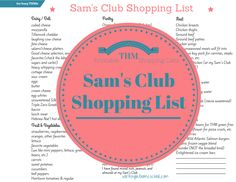 Sam's Club Shopping List for Trim Healthy Mama - Free printable Sam's Club shopping list for THM! Healthy, fresh ingredients and free shopping lists for other stores.