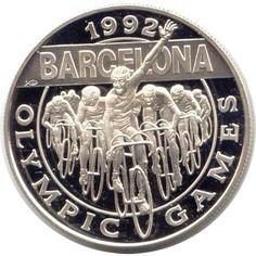 Moneda de plata 5 Dolares Cayman Islands 1992 Ciclismo., Tienda Numismatica y Filatelia Lopez, compra venta de monedas oro y plata, sellos españa, accesorios Leuchtturm