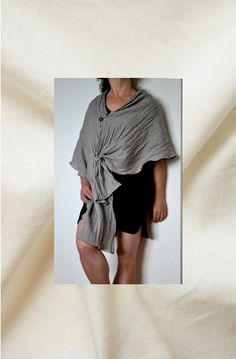 Linen poncho linen shawl linen scarf summer by LinenHouseArt