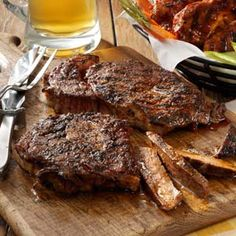 Top 10 Grilled Steak Recipes - Summertime means steaks on the grill! Try these top-rated t-bones, flank steaks, ribeyes and more grilled steak recipes. Looking for the best grilled steak recipe? Dig into these succulent eats. Best Grilled Steak, Grilled Steak Recipes, Grilling Recipes, Meat Recipes, Cooking Recipes, Grilled Steaks, How To Grill Steak, Beef Steak, Beef Dishes