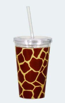 Amazon.com: Giraffe Print Acrylic Cup w/Straw & Lid: Home & Kitchen