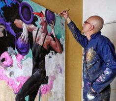 the sculpture or painter artist poses with their work | Alex+Stevenson+Diaz_painting_Colombia_artodyssey+(13).jpg
