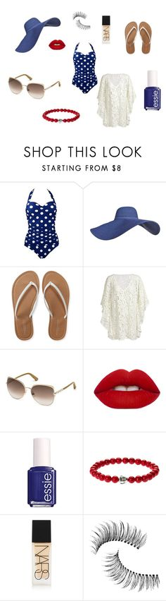 """""""Pool Party"""" by meggieb7 on Polyvore featuring Aéropostale, Swarovski, Lime Crime, Essie, NARS Cosmetics and Trish McEvoy"""
