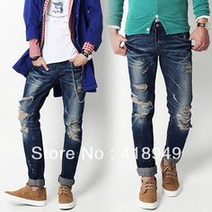 Hot!2013 spring and summer men's American flag pattern straight jeans mens ripped skinny jeans Jeans free shipping-inJeans from Apparel  Accessories on Aliexpress.com $69.99
