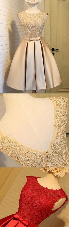 Prom dress A-line Champagne With Bowknot Sleeveless Knee-length