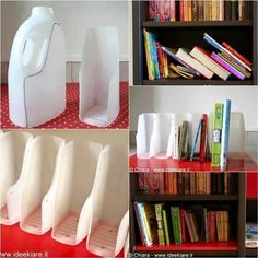 28 Super Ingenious Methods to Reuse Old Bottles in DIY Crafts homesthetics decor ~ How to DIY Book Organizer from Recycled Plastic Bottles + other ideas for reuse DIY Book Projects Upcycle - Top 17 Of The Most Insanely Genius Tutorials For Reusing Plastic Reuse Plastic Bottles, Plastic Bottle Crafts, Old Bottles, Recycled Bottles, Plastic Jugs, Plastic Recycling, How To Recycle Plastic, Diy Projects Plastic Bottles, Plastic Containers